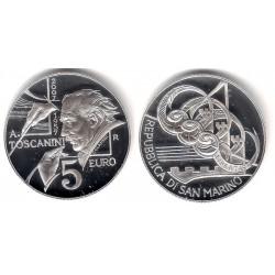San Marino. 2007. 5 Euro (Proof) (Plata) Toscanini