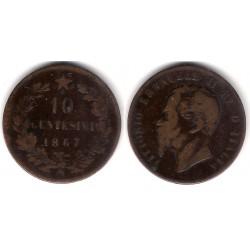 (11.5) Italia. 1867(N). 10 Centesimi (BC-)