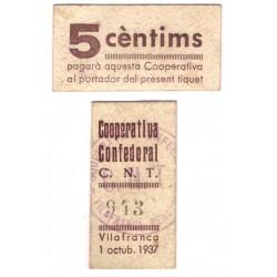 Cooperativa Confederal C.N.T. Vilafranca. 1937. 5 Cèntims (EBC)