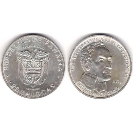 (29) Panamá. 1971. 20 Balboas (SC) (Plata) 129,59gr. de .925