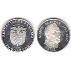 (31) Panamá. 1974. 20 Balboas (SC) (Plata) 129,59gr. de .925