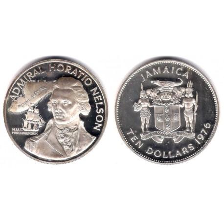 (71a) Jamaica. 1976. 10 Dollars (Proof) (Plata)