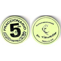 Supermercados El Tiburón. 1978. Fraccionario de 5 (EBC+)