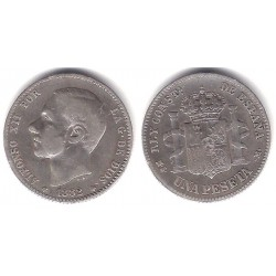 Alfonso XII. 1882*(18-82). 1 Peseta (BC) (Plata) Ceca de Madrid MS-M