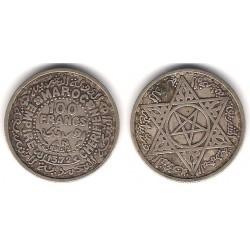 (Y52) Marruecos. 1953. 100 Francs (MBC) (Plata)