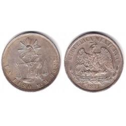 (408.5) República Mexicana. 1871. 1 Peso (MBC+/EBC-) (Plata)