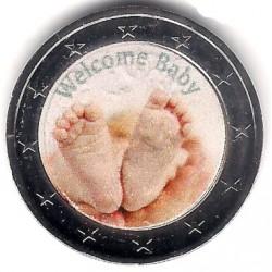 Europa. Sin Fecha. 2 Euro (SC) Bienvenido Bebé. Coloreada