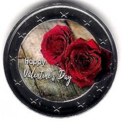 Europa. Sin Fecha. 2 Euro (SC) Feliz San Valentín. Coloreada