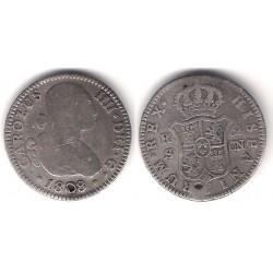 Carlos IV. 1808. 2 Reales (BC) (Plata) Ceca de Sevilla CN. Agujereada
