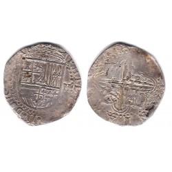 Felipe II. Sin Fecha. 2 Reales (BC/BC+) (Plata) Ceca de Sevilla D