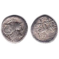 Anónima. 211-195 a.C. Denario (MBC-/BC+) (Plata)