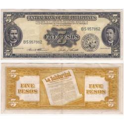 (135d) Filipinas. 1949-69. 5 Pesos (MBC)