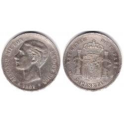 Alfonso XII. 1881*(18-81). 5 Pesetas (MBC-) (Plata) Ceca de Madrid MS-M