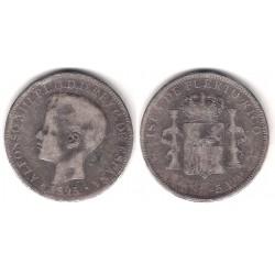 Alfonso XIII. 1895. 1 Peso (BC-/BC) (Plata) Ceca de Puerto Rico PG-V