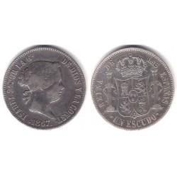 Isabel II. 1867. 1 Escudo (MBC-) (Plata) Ceca de Madrid