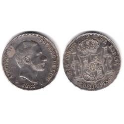 Alfonso XII. 1885. 50 Centavos (MBC) (Plata) Ceca de Manila