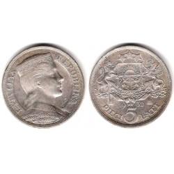 (9) Letonia. 1932. 5 Lati (EBC) (Plata)