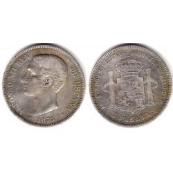 Alfonso XII. 1875*(---75). 5 Pesetas (BC) (Plata) Ceca de Madrid DE-M
