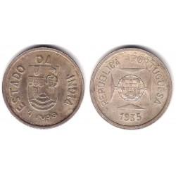 (22) India Portuguesa. 1935. 1 Rupia (MBC) (Plata)