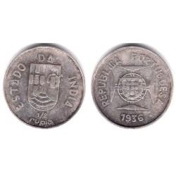 (23) India Portuguesa. 1936. ½ Rupia (MBC) (Plata)