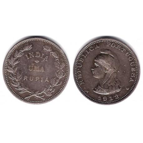 (18) India Portuguesa. 1912. 1 Rupia (MBC) (Plata)