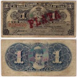 Cuba Colonial. 1896. 1 Peso (BC) PLATA