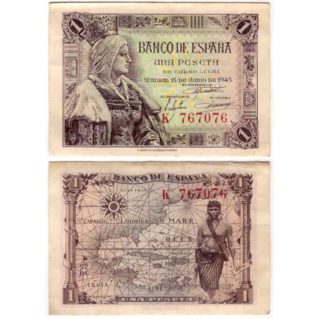 Estado Español. 1945. 1 Peseta (EBC-) Serie K