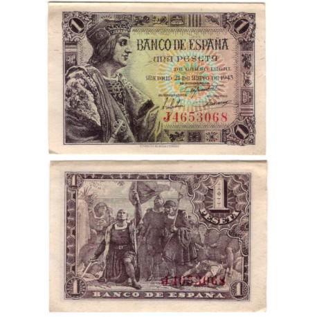 Estado Español. 1943. 1 Peseta (EBC-) Serie J