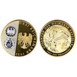 Medalla Conmemorativa 3 Reichmark 1932 de la República de Weimar (Cobre, Bañado en Oro y Plata) 70mm