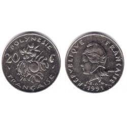 (9) Polinesia Francesa. 1991. 20 Francs (MBC+)