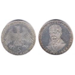 (121) Alemania. 1968(J). 5 Mark (MBC) (Plata)