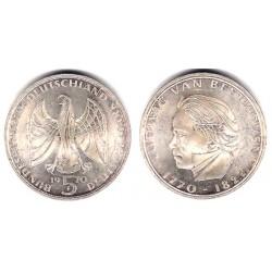 (127) Alemania. 1970(F). 5 Mark (EBC+) (Plata)