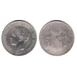 Alfonso XIII. 1897. 1 Peso (MBC-) (Plata) Ceca de Filipinas