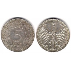 (112.1) Alemania. 1967(J). 5 Mark (MBC) (Plata)