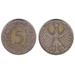(112.1) Alemania. 1951(J). 5 Mark (MBC) (Plata)