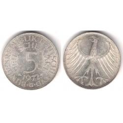 (112.1) Alemania. 1972(G). 5 Mark (MBC) (Plata)
