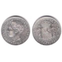 Alfonso XIII. 1896*(-8-96). 1 Peseta (MBC-) (Plata) Ceca de Madrid SG-V