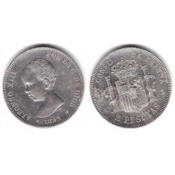 Alfonso XIII. 1892*(18-92). 2 Pesetas (EBC-) (Plata) Ceca de Madrid PG-M