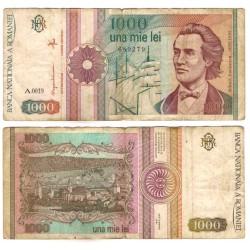 (101Aa) Rumania. 1991. 1000 Lei (RC+) Leve rotura doblez central