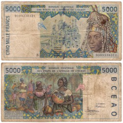 (213Bb) Estados África Oeste. 1993. 5000 Francs (BC) B - Bénin