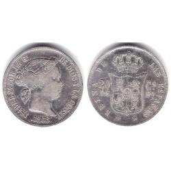 Isabel II. 1868. 20 Centavos de Peso (MBC-) (Plata) Ceca de Manila