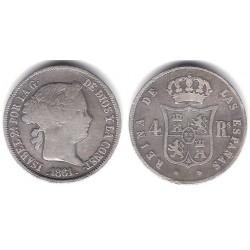 Isabel II. 1861. 4 Reales (MBC) (Plata) Ceca de Barcelona