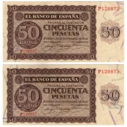 Estado Español. 1936. 50 Pesetas (EBC-) Serie P. Pareja Correlativa
