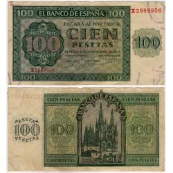 Estado Español. 1936. 100 Pesetas (MBC-) Serie X. Leves roturas en márgenes