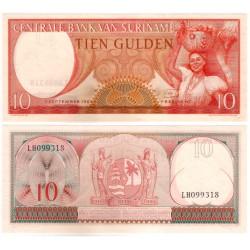 (121b) Surinam. 1963. 10 Gulden (SC)