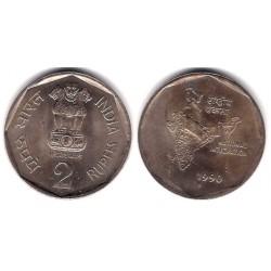 (121.2) India. 1990. 2 Rupees (EBC+)