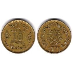 (Y49) Marruecos. 1371AH. 10 Francs (BC+)