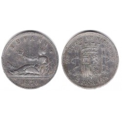 Gobierno Provisional. 1870*(18-74). 2 Pesetas (MBC-) (Plata) Ceca de Madrid DE-M