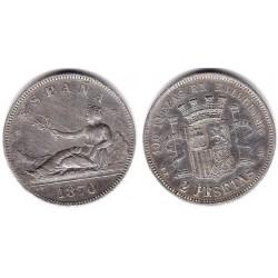 Gobierno Provisional. 1870*(18-74). 2 Pesetas (MBC) (Plata) Ceca de Madrid DE-M