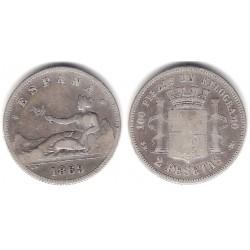 Gobierno Provisional. 1869*(----9). 2 Pesetas (BC/BC-) (Plata) Ceca de Madrid SN-M